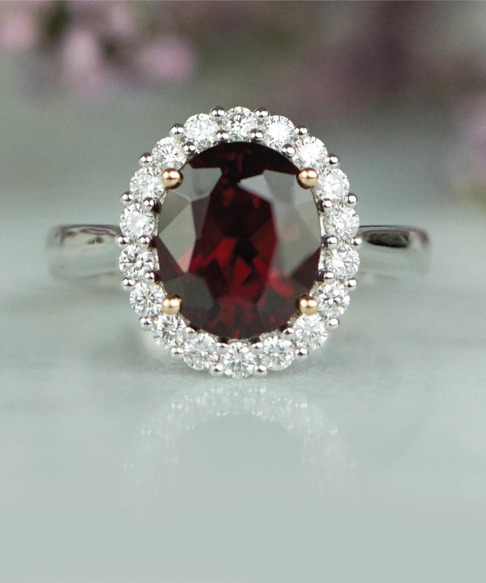 Garnet & Diamond Cocktail Ring