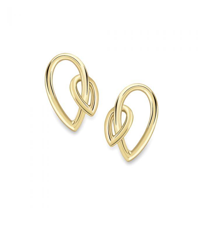 18ct Yellow Gold Leaf Drop Earrings