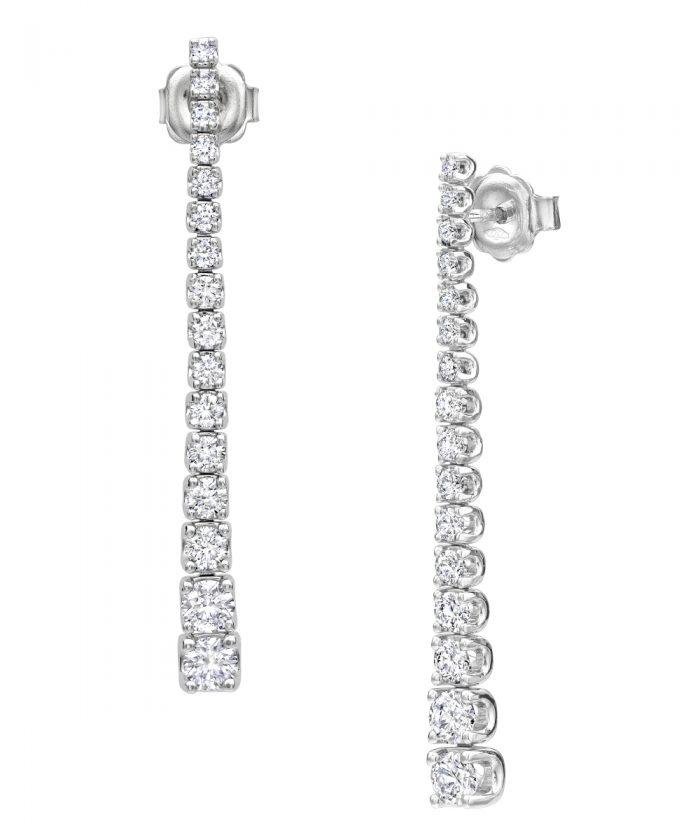 Graduated Diamond Line Drop Earrings