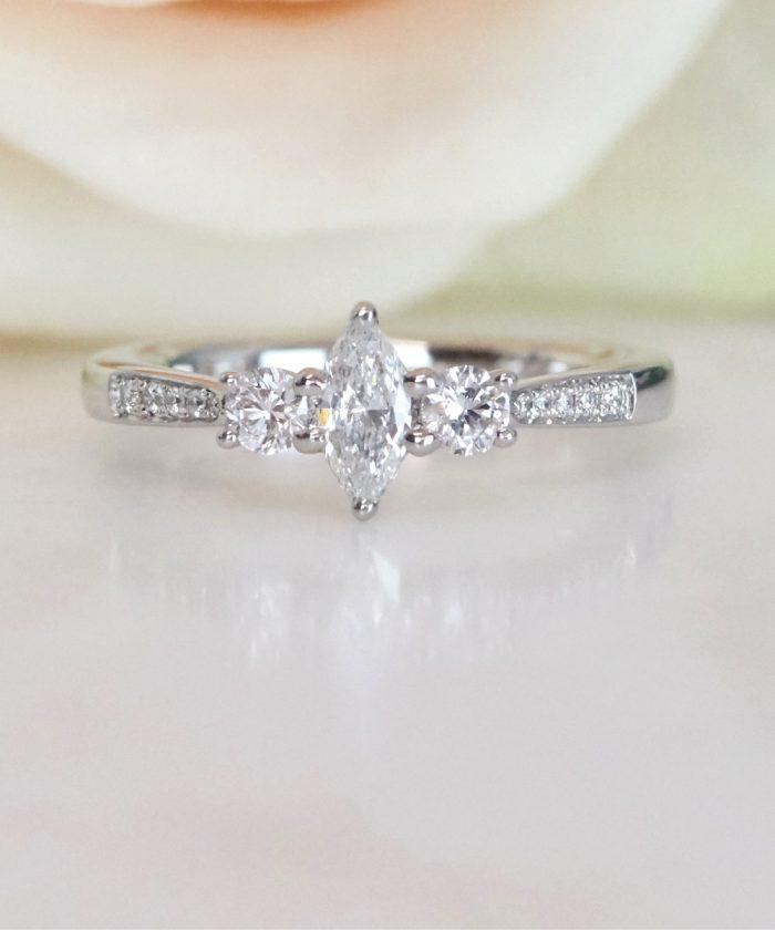 Marquise Cut Diamond Trilogy Ring