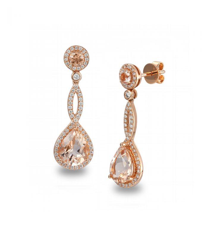 Morganite & Diamond Drop Earrings