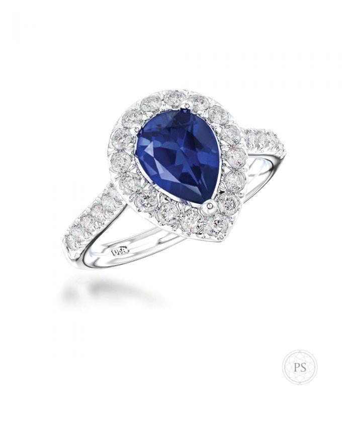 Pear Cut Sapphire & Diamond Cluster Ring