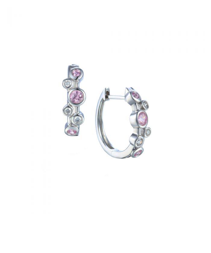 Pink Sapphire & Diamond Hoop Earrings