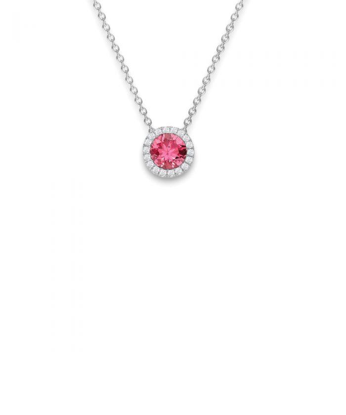 Pink Tourmaline & Diamond Halo Pendant