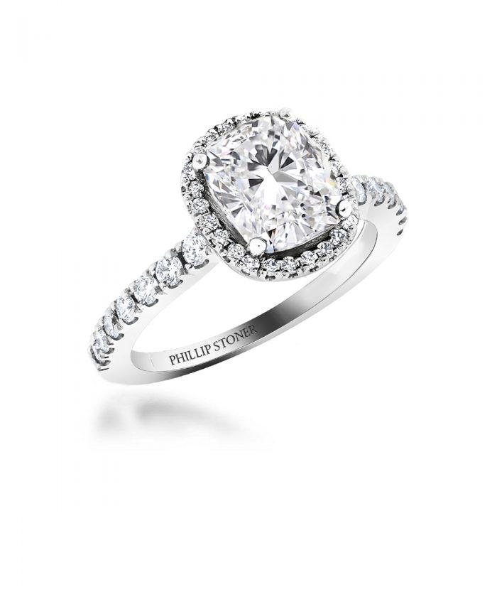 Platinum 3ct Cushion Cut Thea Halo Engagement Ring