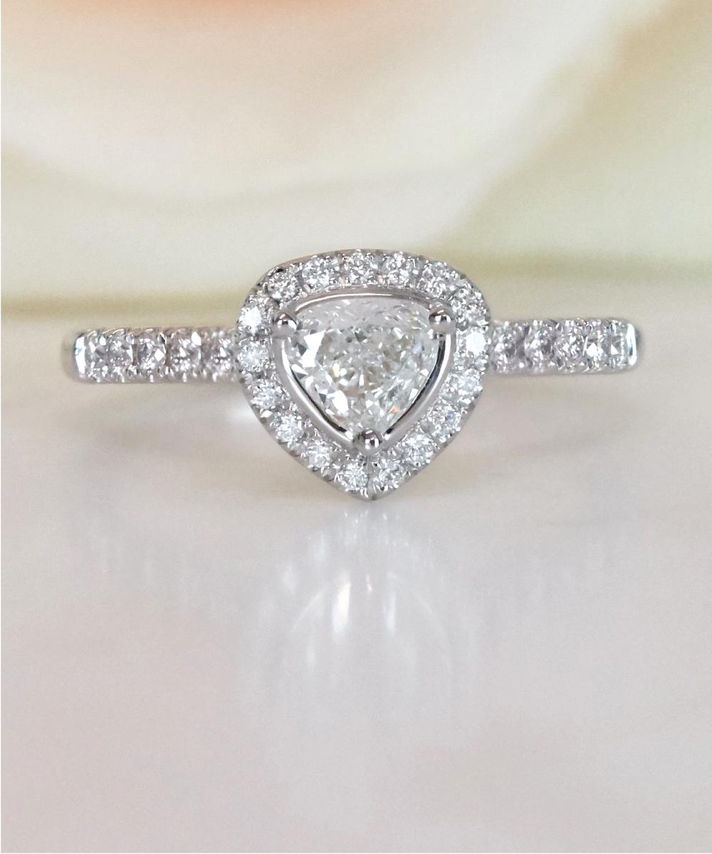 Platinum Pear Cut Halo Ring