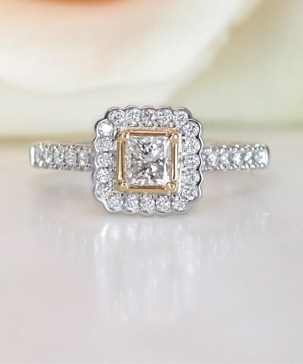 Princess Cut Diamond Bi-Metal Engagement Ring