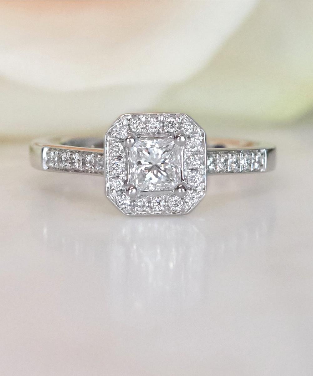 Princess Cut Diamond Cluster Ring