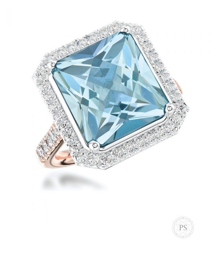 Radiant Aquamarine & Diamond Cocktail Ring