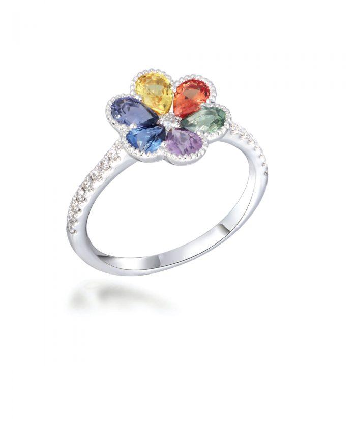 Rainbow Sapphire Flower Cocktail Ring
