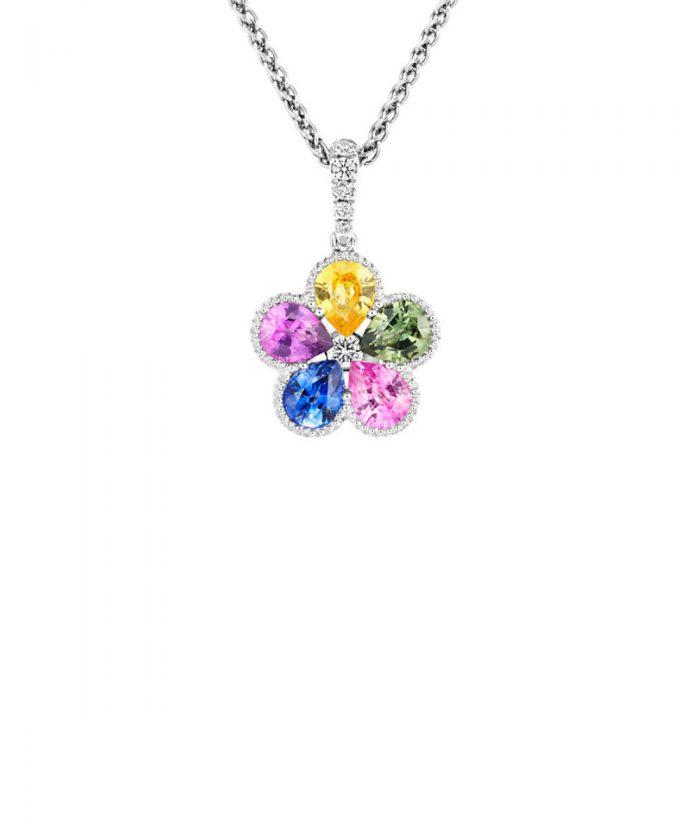 Rainbow Sapphire Flower Pendant