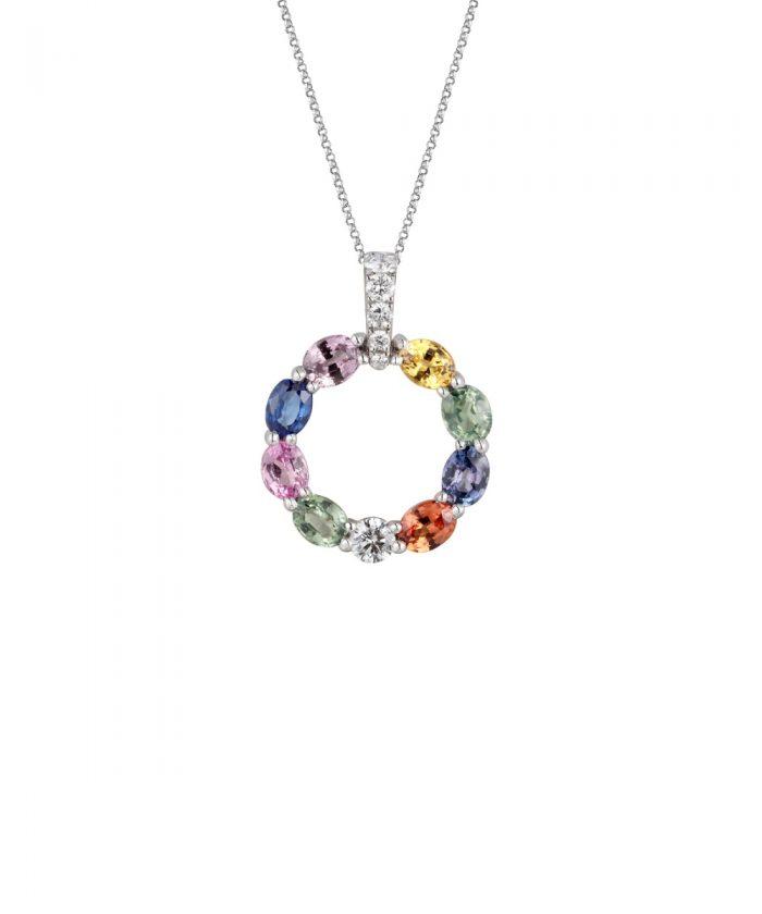 Rainbow Sapphire Loop Pendant