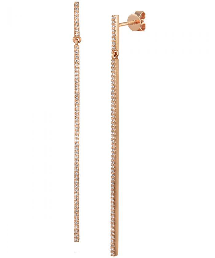 Rose Gold Diamond Linear Drop Earrings