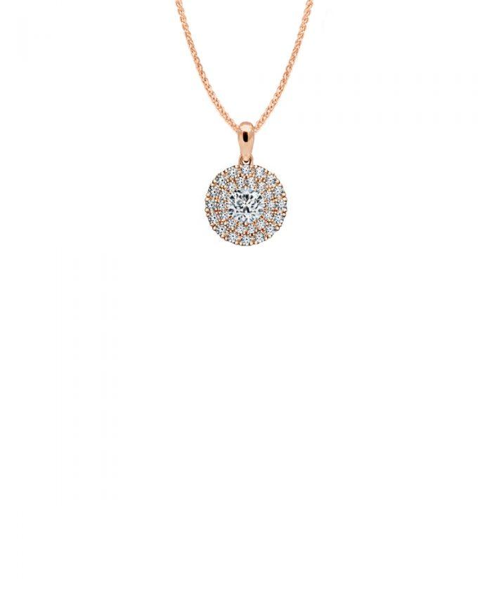 Rose Gold Diamond Double Halo Pendant