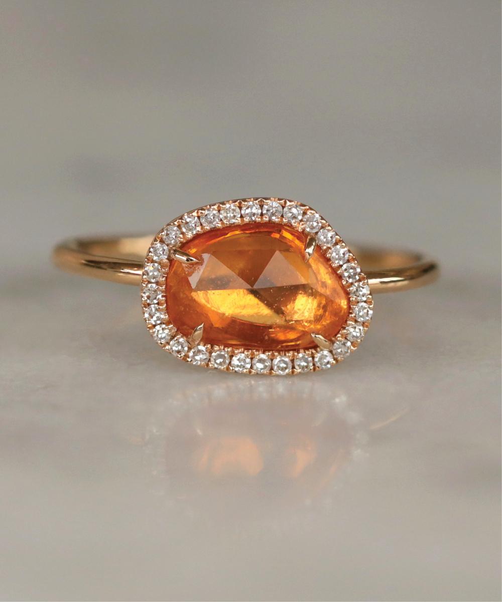 Rough Cut Orange Sapphire Cocktail Ring