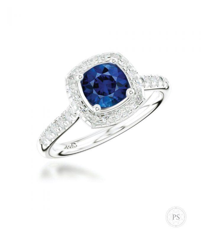 Sapphire & Diamond Cushion Halo Ring