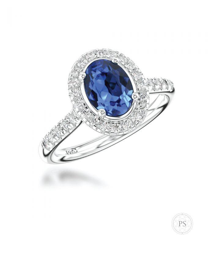 Sapphire & Diamond Oval Halo Ring