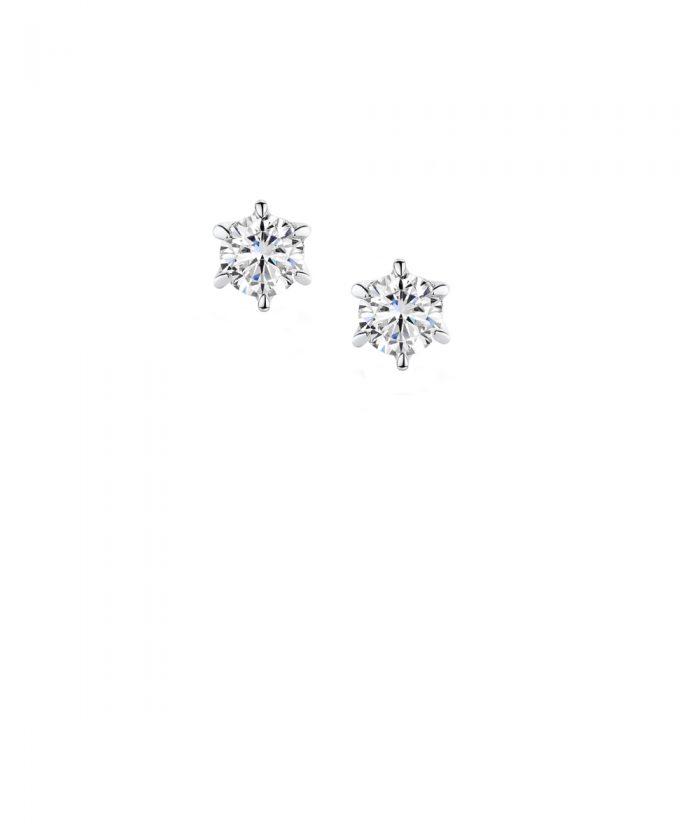 Six Claw Diamond Stud Earrings