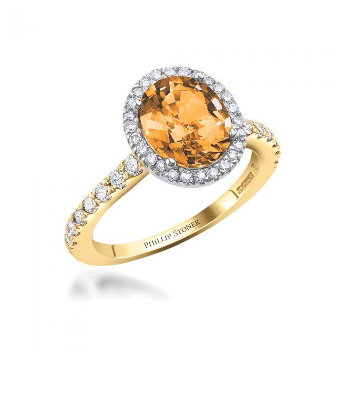 Spessartite & Diamond Thea Cocktail Ring