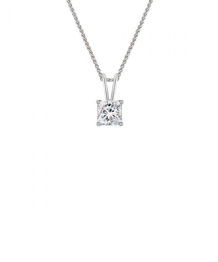 Split Bale Princess Cut Diamond Pendant