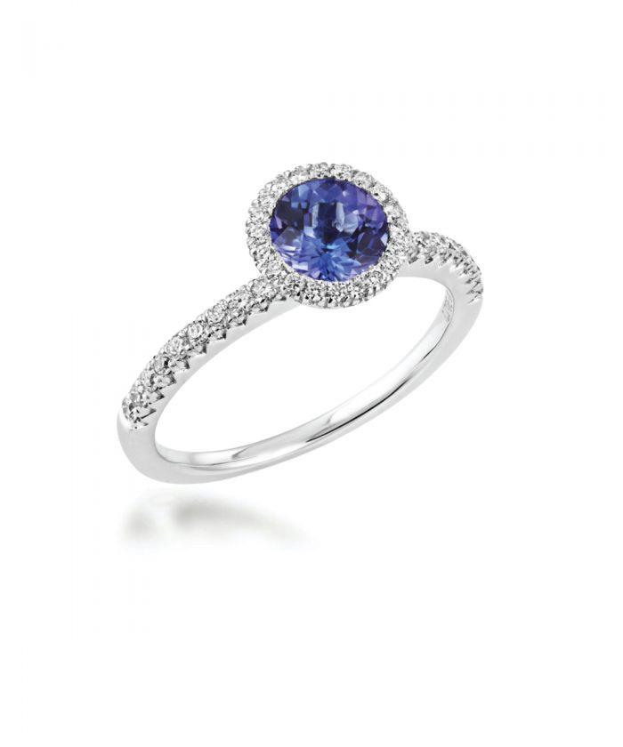 Tanzanite & Diamond Halo Cocktail Ring