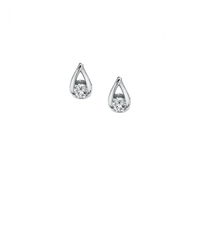 Teardrop Shaped Diamond Stud Earrings