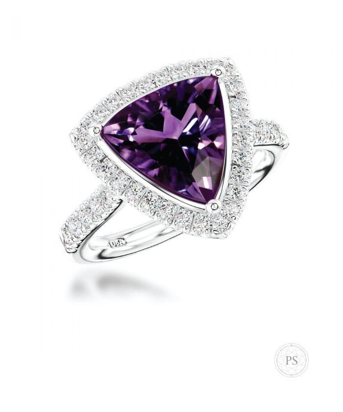 Trilliant Cut Amethyst & Diamond Cocktail Ring