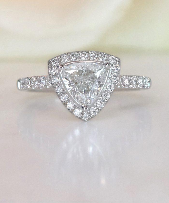 Trilliant Cut Diamond Cluster Engagement Ring