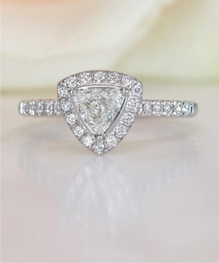 Trilliant Cut Diamond Halo Engagement Ring