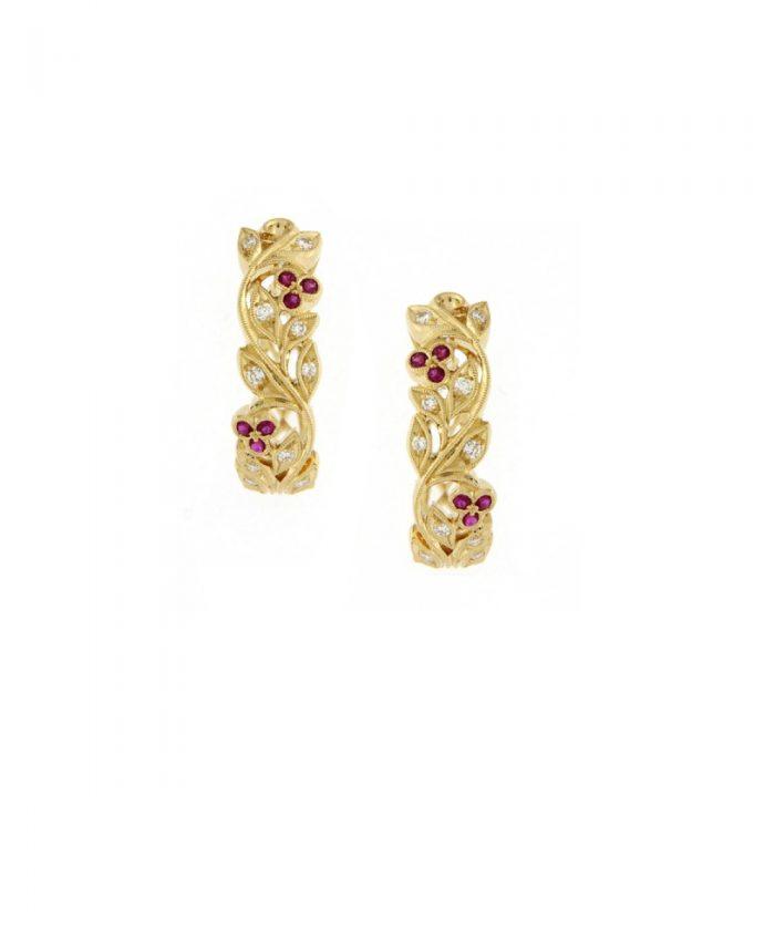Ungar & Ungar Floral Hoop Earrings
