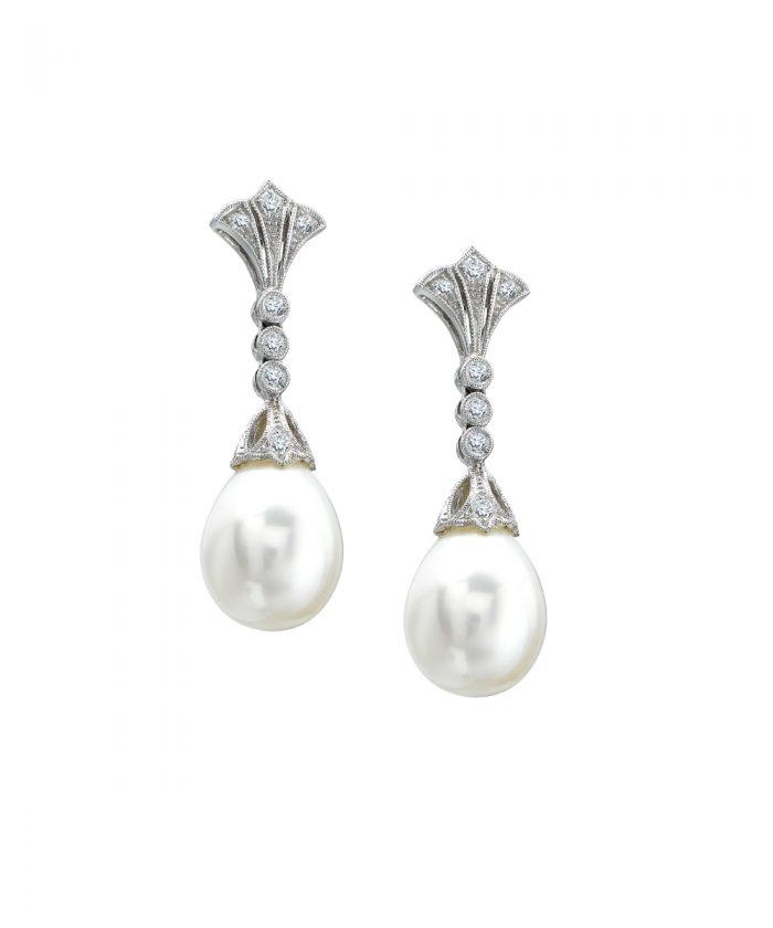 Ungar & Ungar Pearl & Diamond Drop Earrings