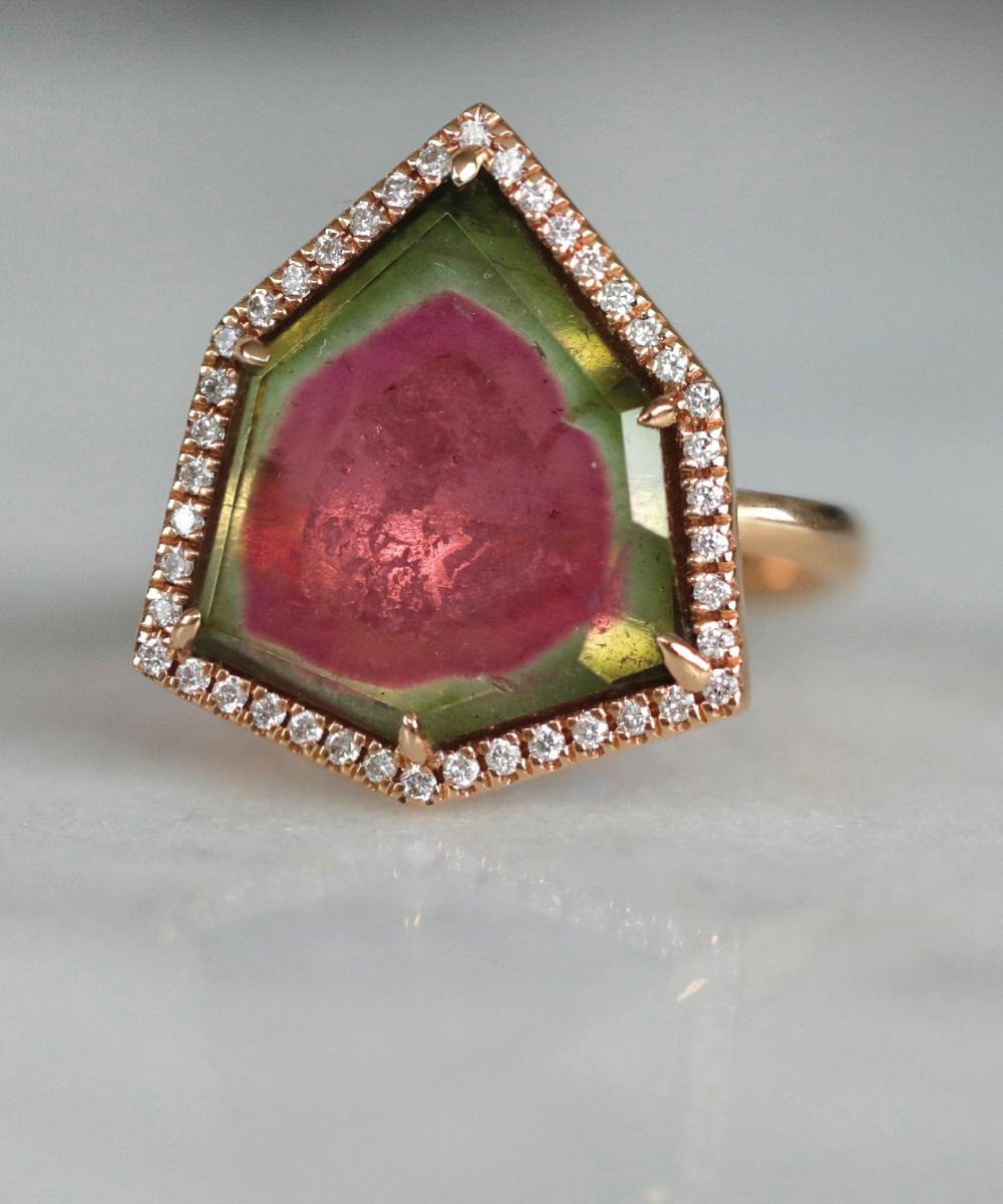 Watermelon Tourmaline Cocktail Ring