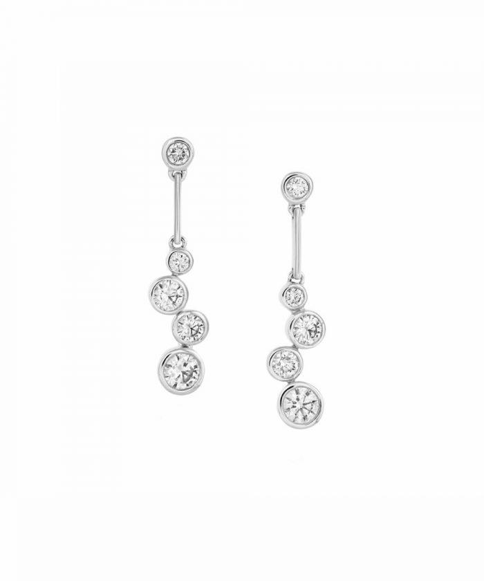 White Gold Cascade Diamond Drop Earrings