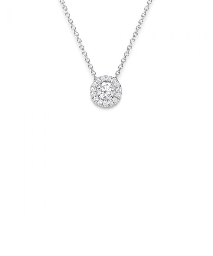 White Gold Diamond Halo Pendant