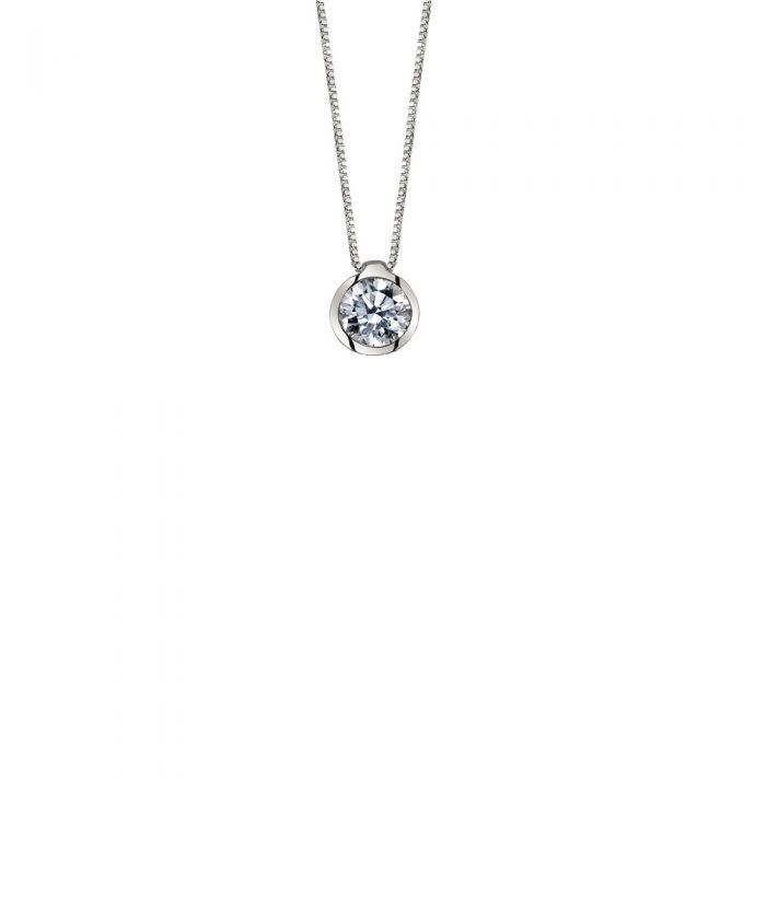 White Gold Rubover Diamond Pendant