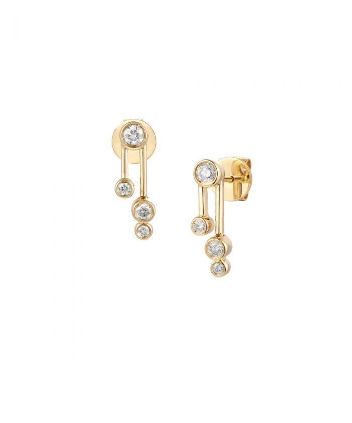 Yellow Gold Cascade Diamond Drop Earrings