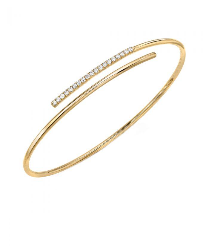 Yellow Gold Diamond Crossover Bangle