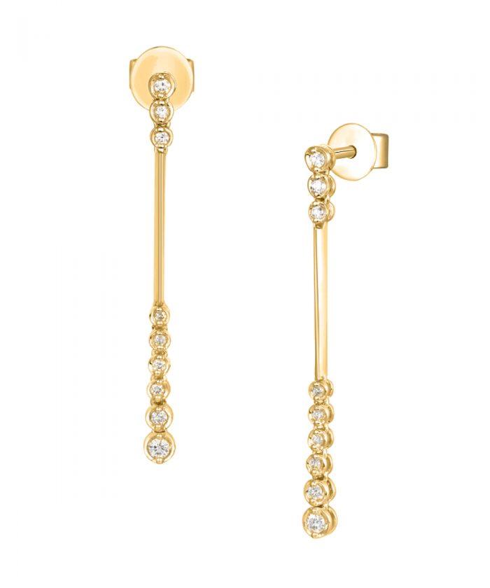 Yellow Gold Diamond Dot Drop Earrings