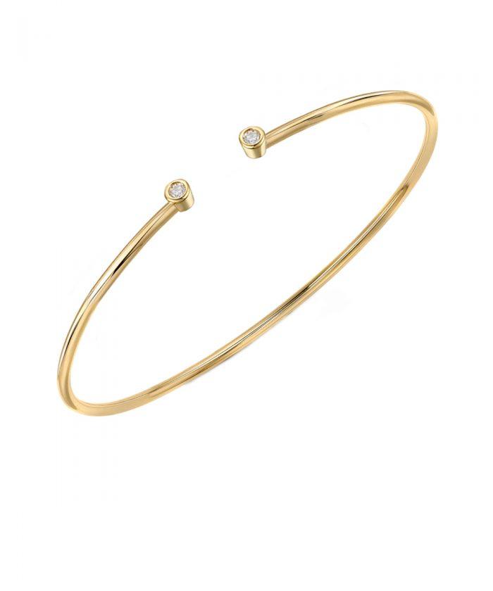 Yellow Gold Open Diamond Bangle