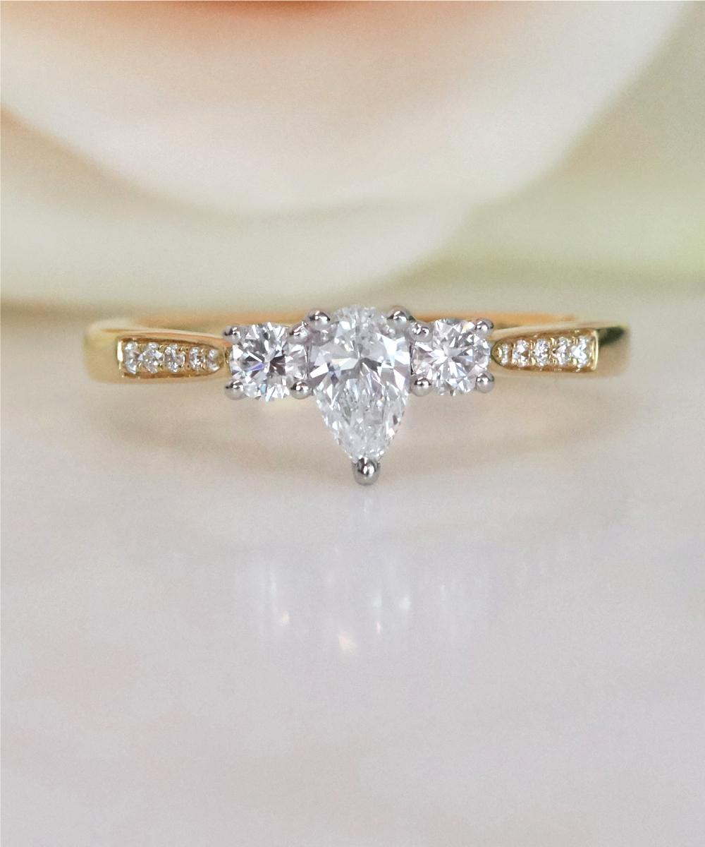 Yellow Gold Pear Diamond Trilogy Ring