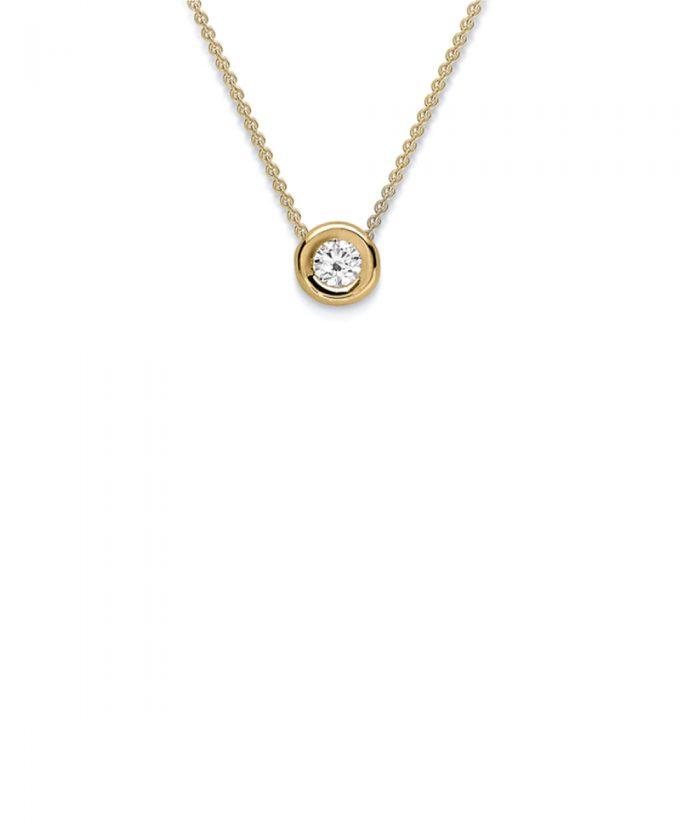 Yellow Gold Rubover Diamond Pendant