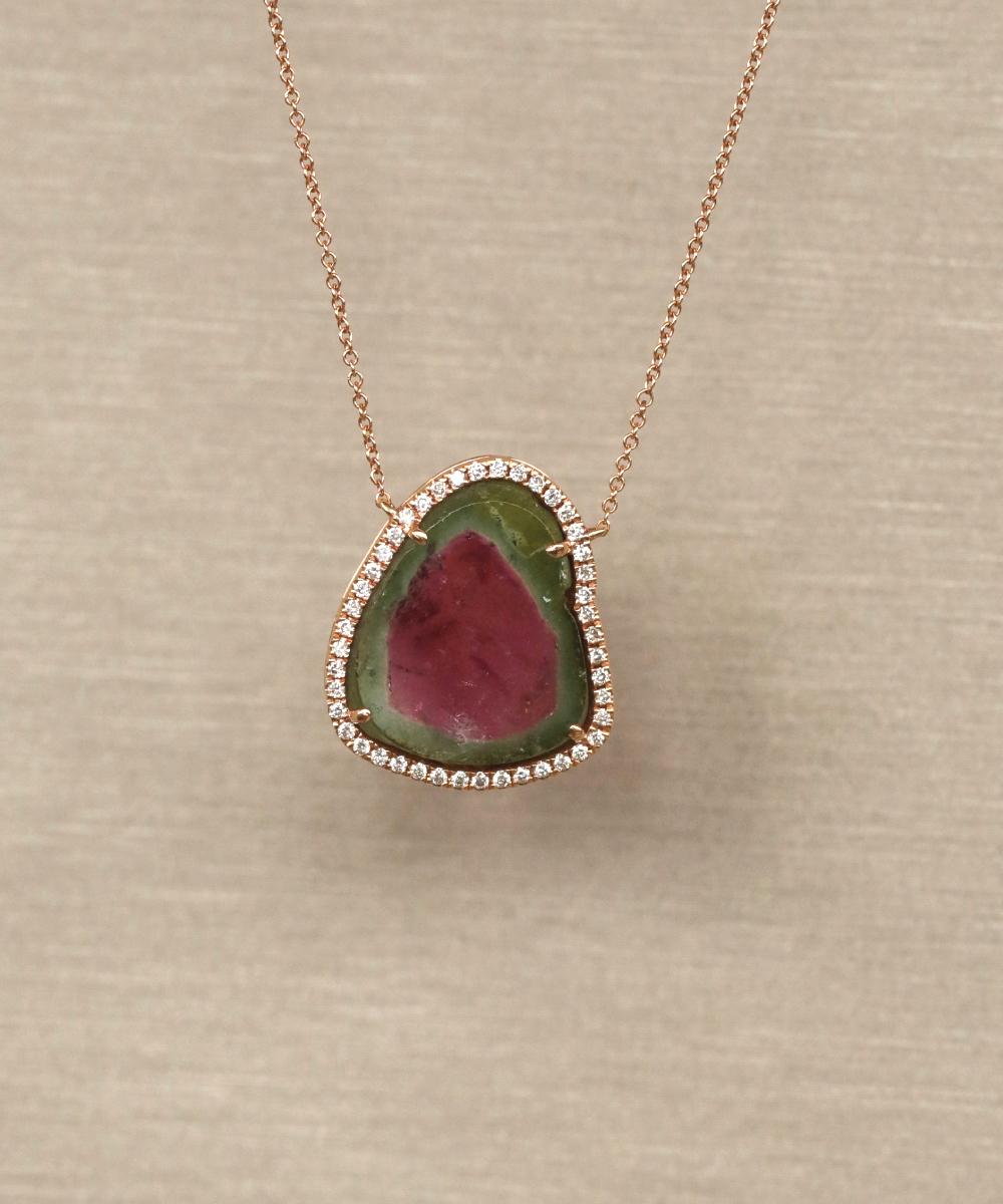 18ct Rose Gold Watermelon Tourmaline Pendant