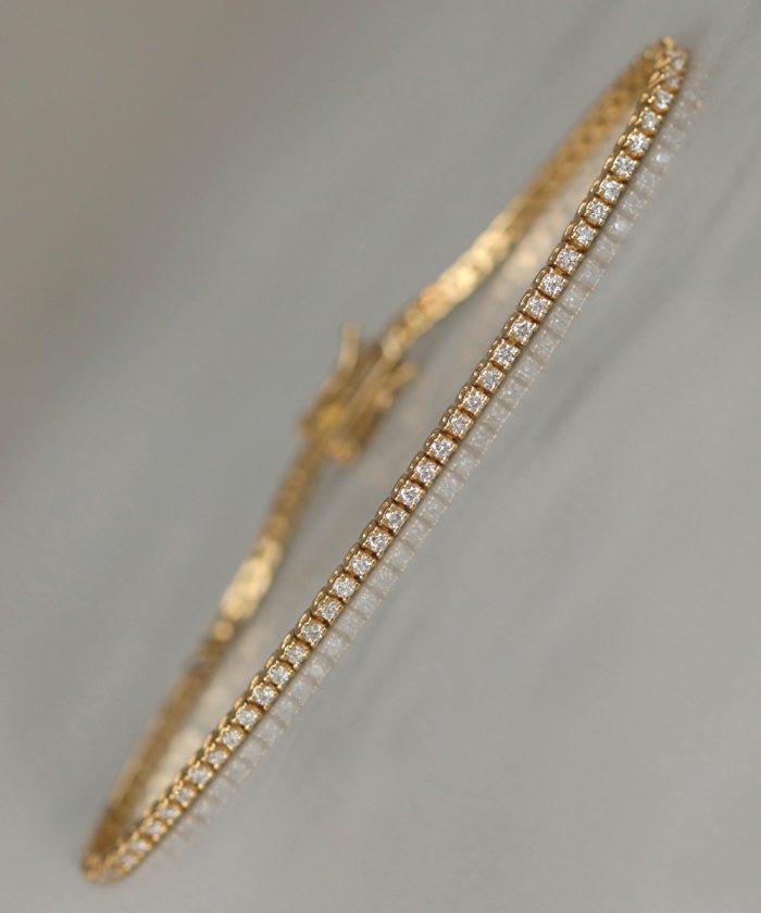18ct Yellow Gold Diamond Line Bracelet