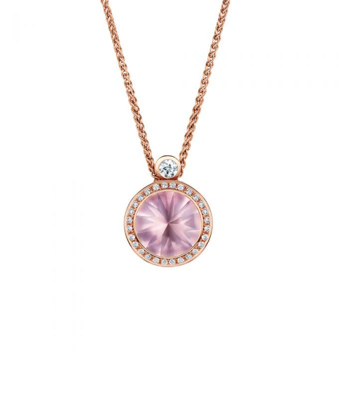 Andrew Geoghegan Satellite Rose Quartz & Diamond Pendant