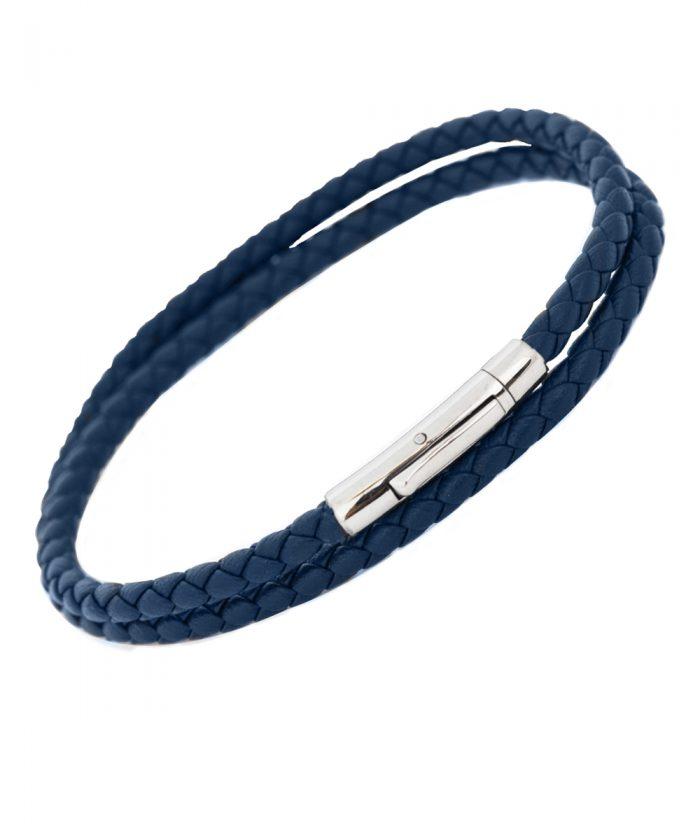 Babette Wasserman Blue Leather Wrap Bracelet
