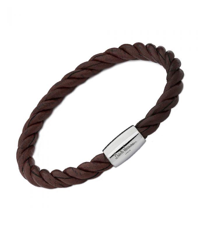 Babette Wasserman Brown Twist Leather Bracelet