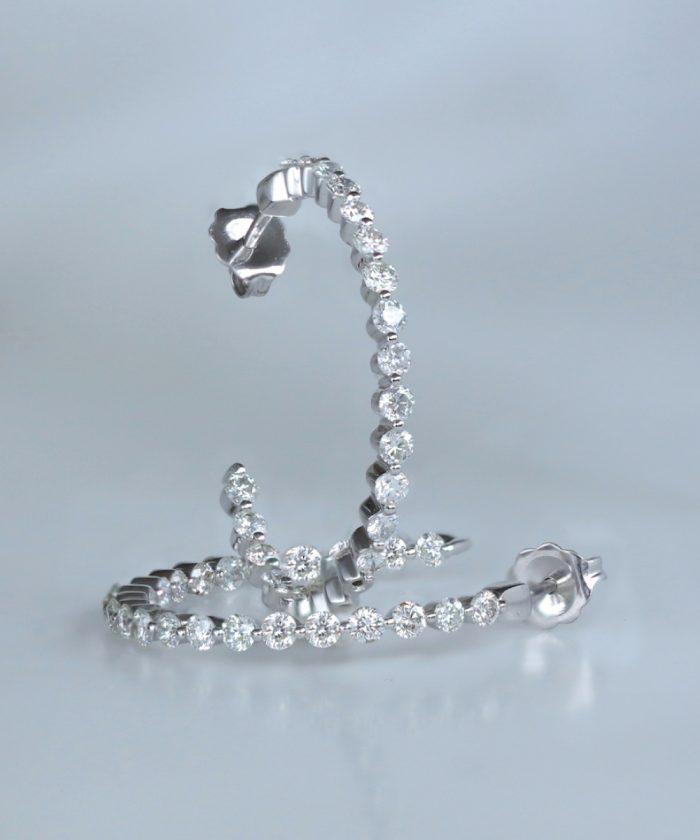 18ct White Gold Diamond Hoop Earrings