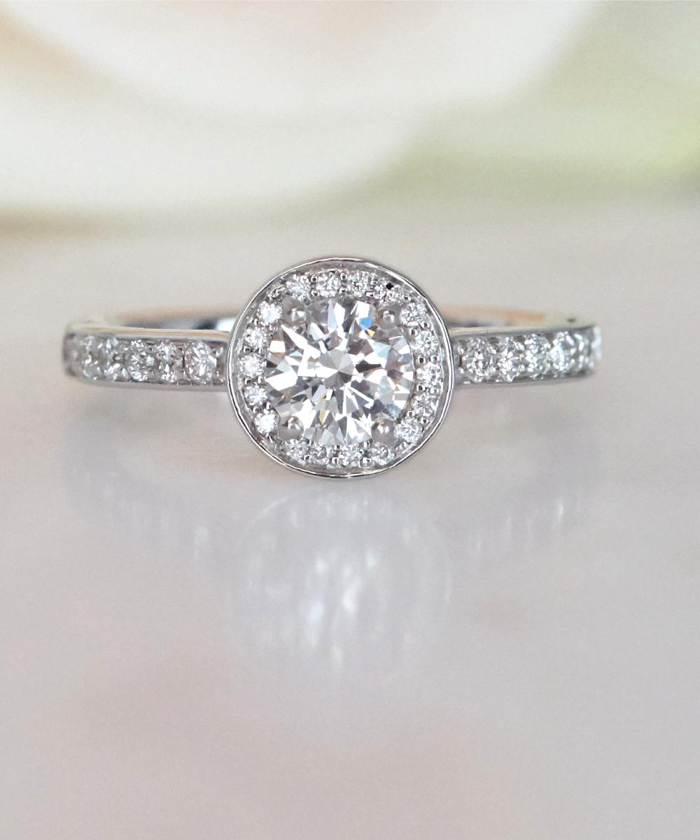 White Gold Round Brilliant Cut Diamond Halo Ring