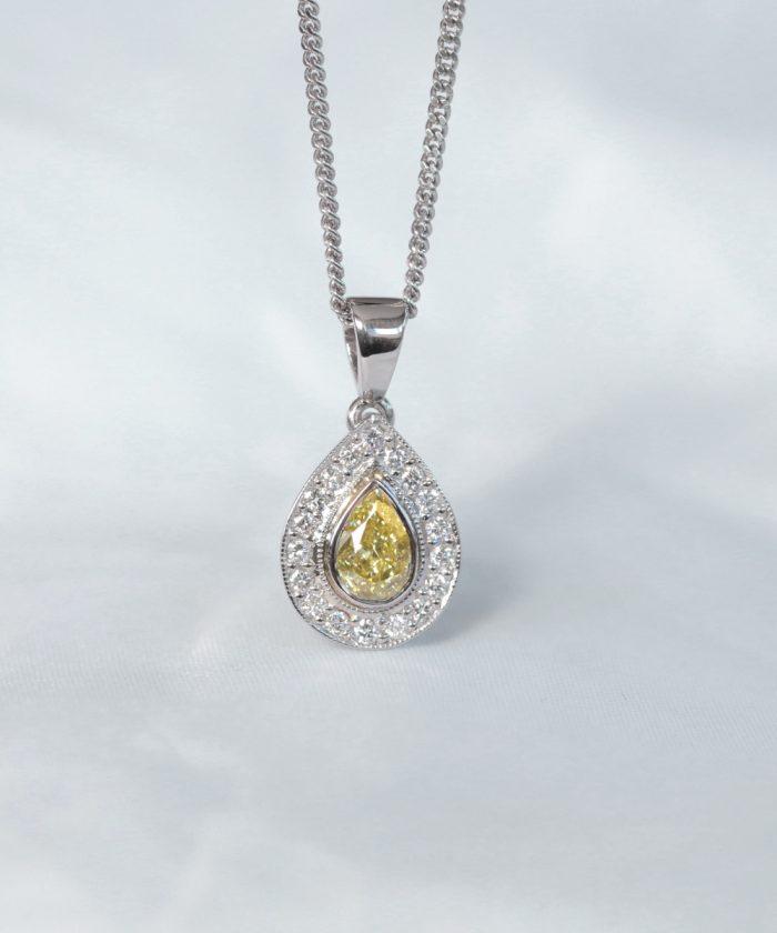 Pear Cut Yellow Diamond Halo Pendant