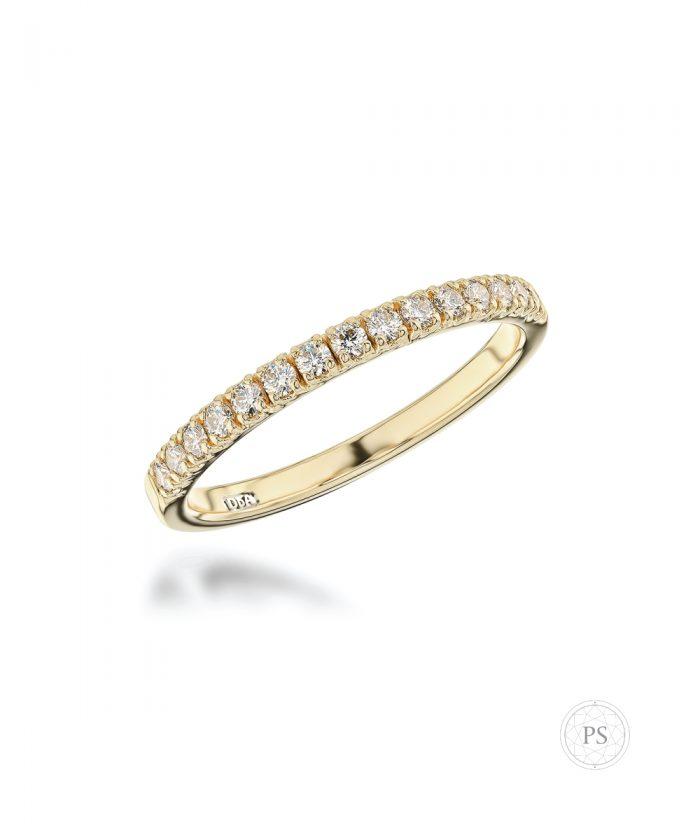 0.22ct Yellow Gold Scallop Set Diamond Wedding Band